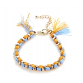 Blue, orange and gold friendship bracelet
